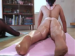 shiny pantyhose sex babes get busy in sexy tights
