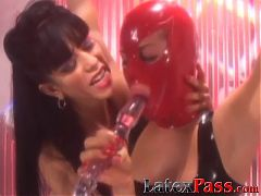 Masked lesbian tied up and toyed by naughty femdom