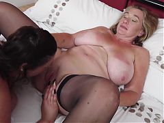 Amateur busty mature lesbian lick and fuck each other