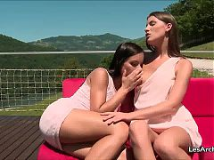 Lesbian Teen Ennie and Kari Pussy Eating Babes