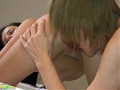 OLD NANNY, Old Lady and Teen Girl Have Lesbian Fun