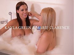 Bubble bath pussy play makes lesbian Milfs Satin Bloom & Tra