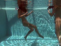 Olla Oglaebina & Irina Russaka hot teens underwater