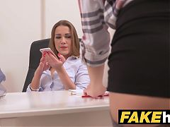 Female Agent Shy maid in stockings cums hard lesbian casting