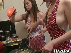 Hazed bimbos have a pussy licking foursome after cooking