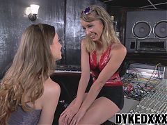 Flat chested lesbian teen and her friend play with a strapon