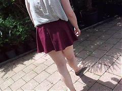 Madam ass in a garden center